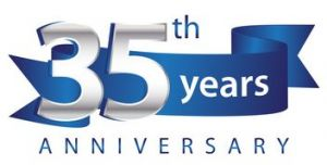 35 Years Anniversary Logo Blue Ribbon